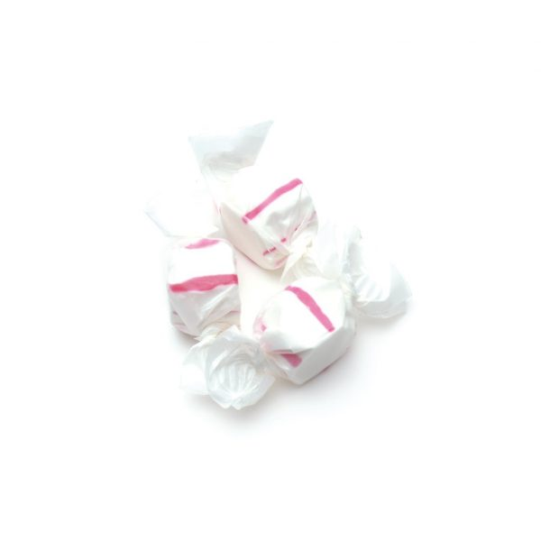 peppermint taffy with white and red striped candy three pieces