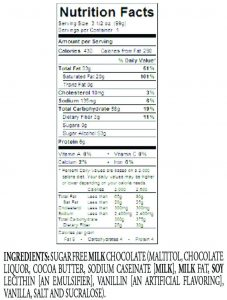 Sugar Free Milk Chocolate Candy Bar Ingredients
