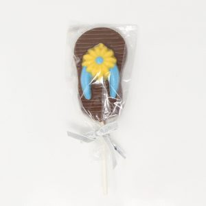 chocolate flip flop lollipop with yellow flower and blue straps