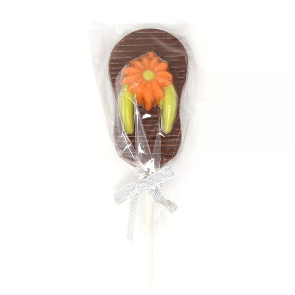 flip flop chocolate lollipop with orange flower and yellow straps