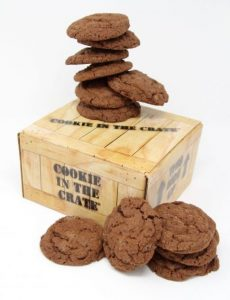 double chocolate chunk cookie in the crate