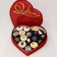 valentine truffle chocolates gift assortment in red heart box