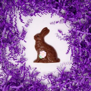 small easter bunny with flower-milk