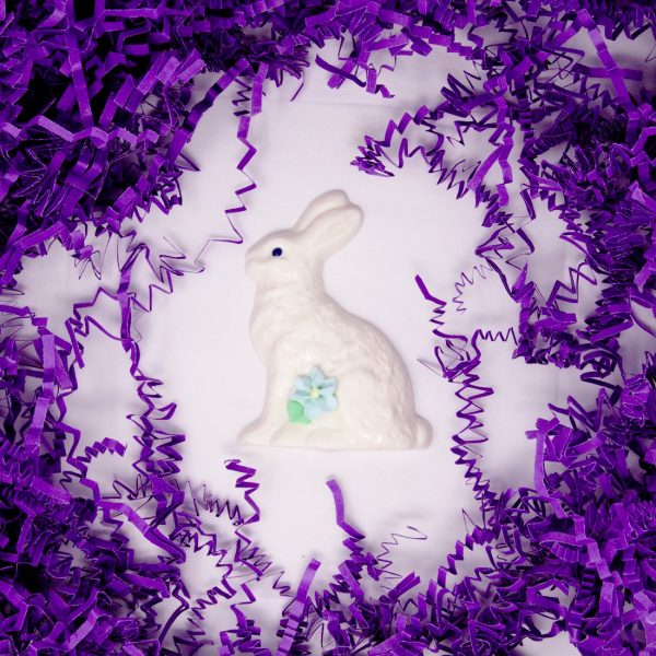 small easter bunny with flower