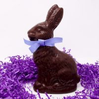 large bunny scultpure in dark chocolate