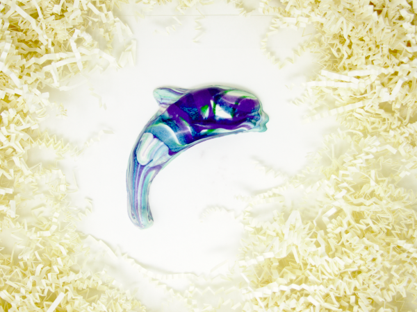 blue and purple and white chocolate marbled dolphin