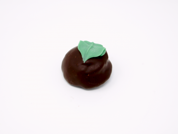 mint chocolate truffle with green mint julep leaf in dark chocolate
