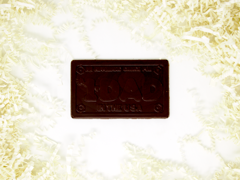 chocolate bar with dad lettering