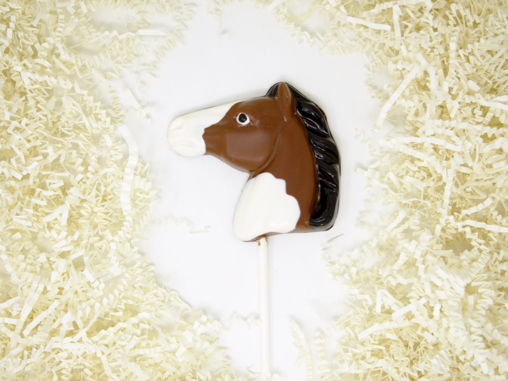 painted chocolate horse lollipop
